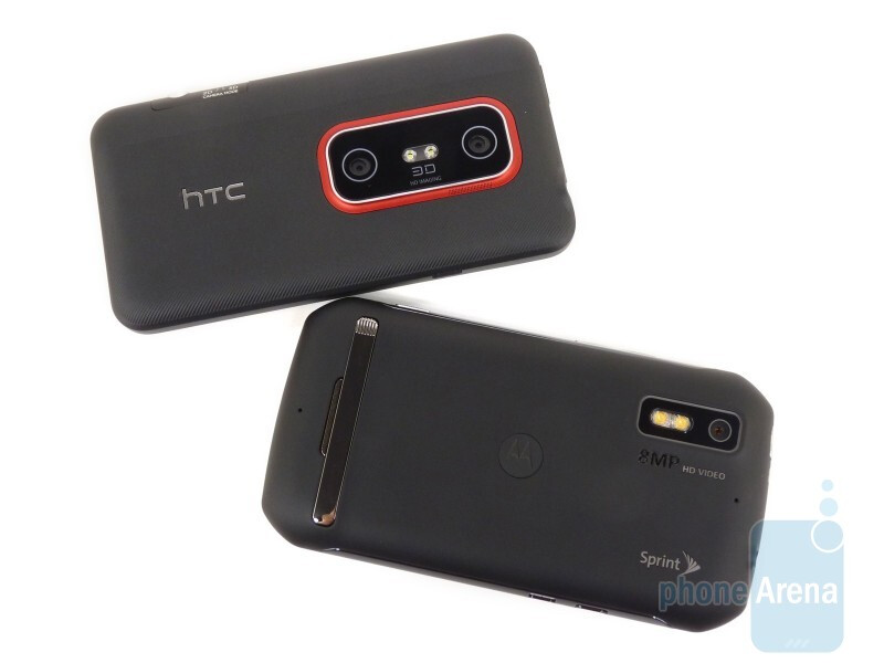 The Motorola Photon 4G (left, bottom) and the HTC EVO 3D (right, top) - Motorola Photon 4G vs. HTC EVO 3D