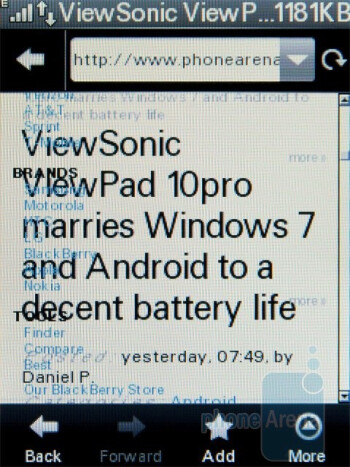 The default NetFront browser of the Motorola WILDER - Motorola WILDER Review