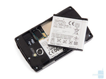 Battery compartment - The back of the Sony Ericsson Xperia mini pro - Sony Ericsson Xperia mini pro Review