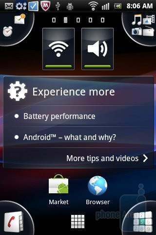 The interface of the Sony Ericsson Xperia mini pro - Sony Ericsson Xperia mini pro Review
