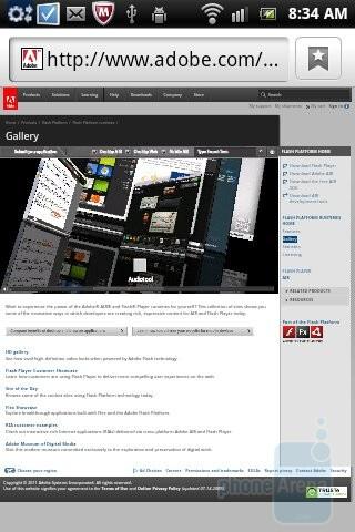 Due to its 1GHz processor, the Sony Ericsson Xperia mini pro supports Flash Player - Sony Ericsson Xperia mini pro Review