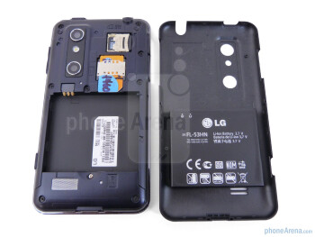 Battery compartment - Prominent on the LG Thrill 4G are the two camera lenses in the rear - LG Thrill 4G Review