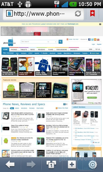 Web browsing - LG Thrill 4G Review