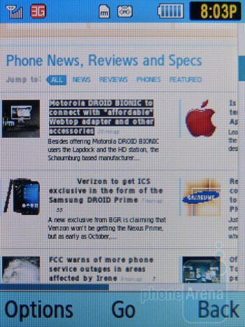 Web browsing with the Samsung Gravity TXT - Samsung Gravity TXT Review