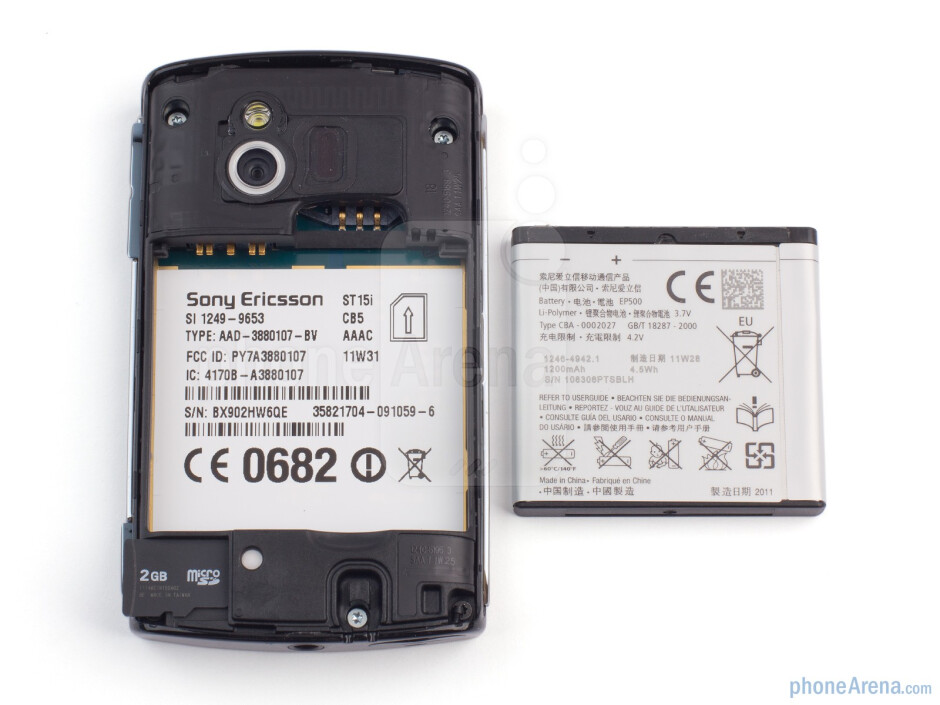 The battery compartment - Sony Ericsson Xperia mini Review