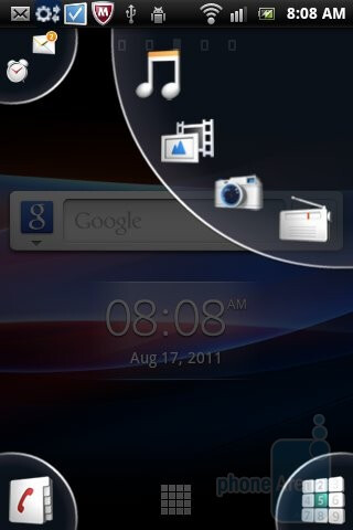 The interface of the Sony Ericsson Xperia mini - Sony Ericsson Xperia mini Review