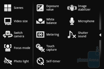 The camera interface - Sony Ericsson Xperia mini Review