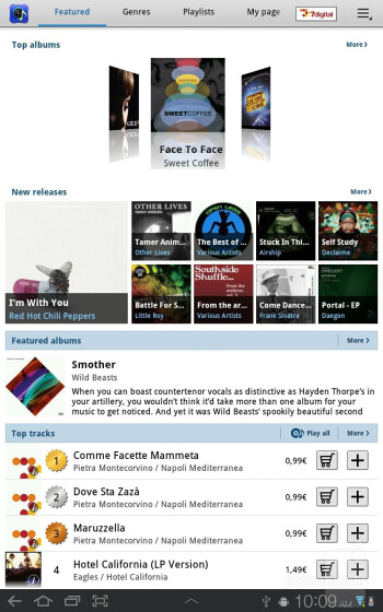 The Music Hub and the Music player interfaces of Samsung Galaxy Tab 7.7 - Samsung Galaxy Tab 7.7 Preview