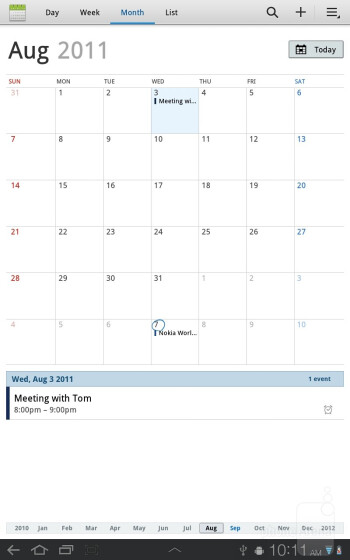 The Calendar app - Samsung Galaxy Tab 7.7 Preview