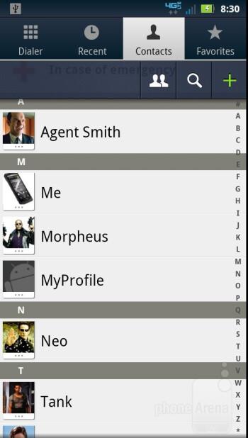 Phonebook - Motorola DROID BIONIC Review