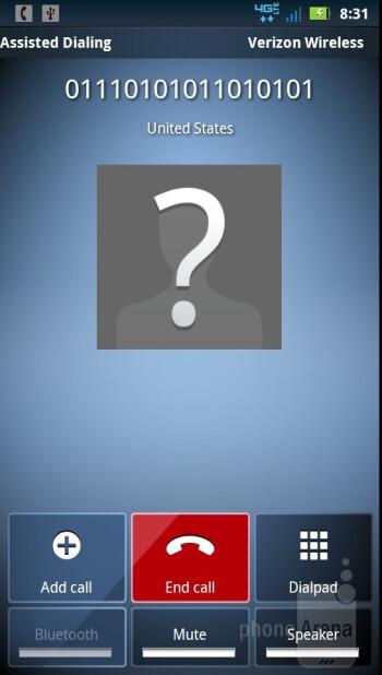 In call screen - Motorola DROID BIONIC Review