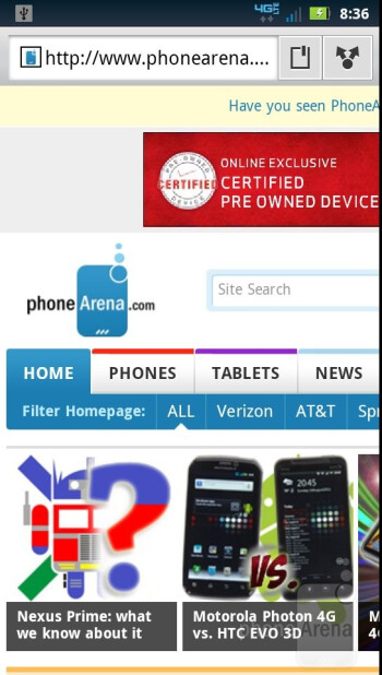 Internet browser of the Motorola DROID BIONIC - Apple iPhone 4S vs Motorola DROID BIONIC vs Samsung Galaxy S II T-Mobile