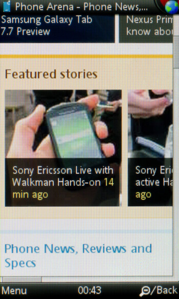 Opera Mobile browser - Sony Ericsson Mix Walkman Preview