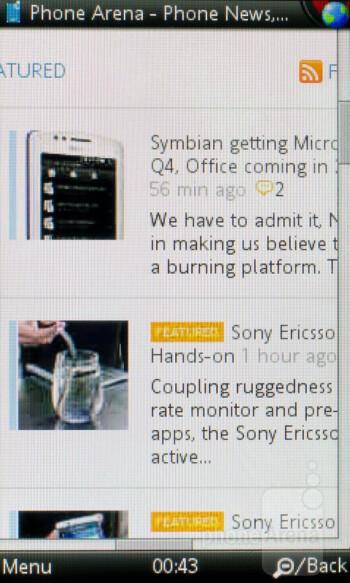 Opera Mobile browser - Sony Ericsson Mix Walkman Preview