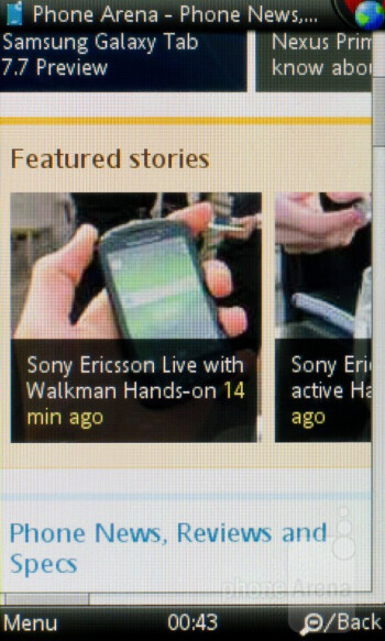 Surfing the web - Sony Ericsson Mix Walkman Review