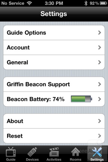 Settings - Griffin Beacon Review
