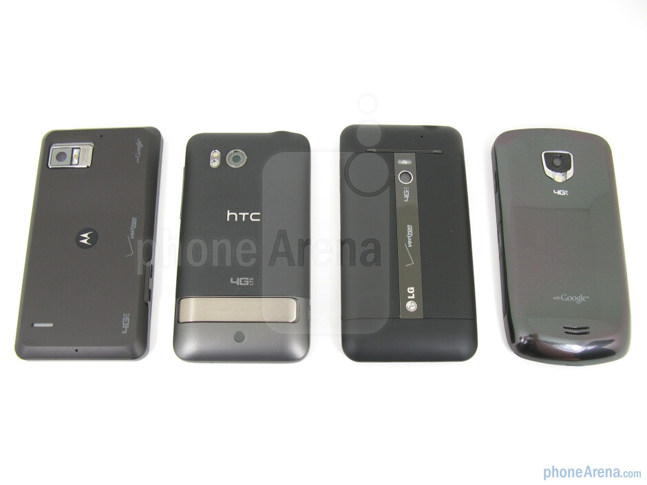 Left to right - Motorola DROID BIONIC, HTC ThunderBolt, LG Revolution, Samsung Droid Charge - Motorola DROID BIONIC vs HTC ThunderBolt vs Samsung Droid Charge vs LG Revolution