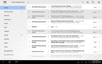 The e-mail app of HTC Jetstream - HTC Jetstream vs Apple iPad 2