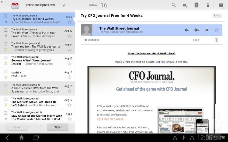 The e-mail app of HTC Jetstream - HTC Jetstream vs Apple iPad 2