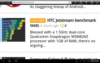 Browsing the web with the HTC Jetstream - HTC Jetstream Review