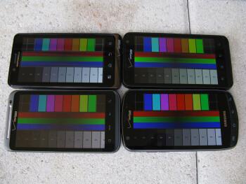 Motorola DROID BIONIC (top left), LG Revolution (top right),  HTC ThunderBolt (bottom left), Samsung  Droid Charge (bottom right) - Motorola DROID BIONIC vs HTC ThunderBolt vs Samsung Droid Charge vs LG Revolution