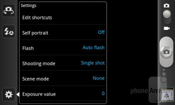 Camera interface - Samsung Epic 4G Touch Review