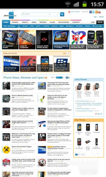 The stock browser of the Samsung Epic 4G Touch - Samsung Epic 4G Touch Review