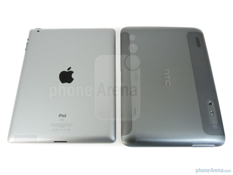 Back - Apple iPad 2 (left, top) and HTC Jetstream (right, bottom) - HTC Jetstream vs Apple iPad 2
