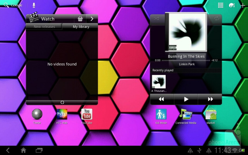 HTC Watch widget - HTC Jetstream is packed to the brim with some very useful apps&nbsp - HTC Jetstream vs Apple iPad 2