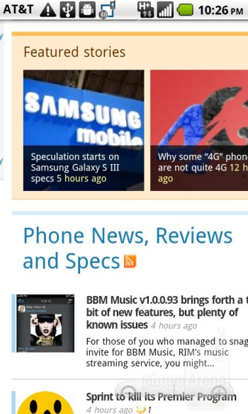 Web browsing with the AT&T Impulse 4G - AT&T Impulse 4G Review