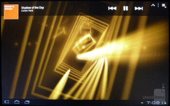 The Sony  music player offers cool looking 3D album cover interface  where we're able to move and pick up albums and place them anywhere on screen - Sony Tablet S Review