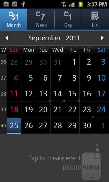 Calendar - Organizer apps of the Samsung Galaxy S II AT&T - Samsung Galaxy S II AT&T Review
