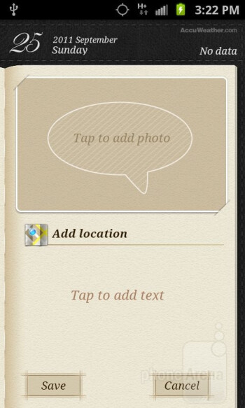 Mini Diary app - Organizer apps of the Samsung Galaxy S II AT&T - Samsung Galaxy S II AT&T Review