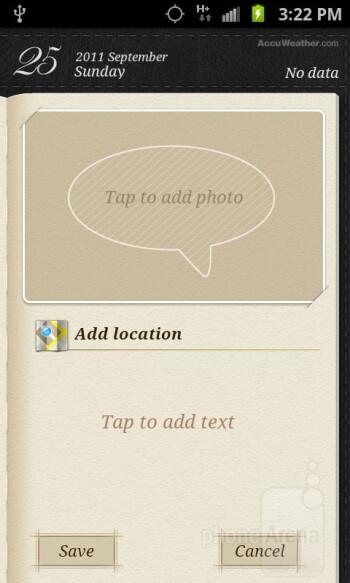 Mini Diary app - Organizer apps of the Samsung Galaxy S II AT&T - Samsung Galaxy S II AT&T Review