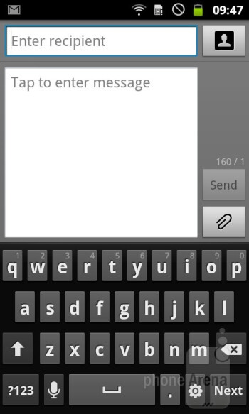 The on-screen keyboard is very responsive  - Samsung GALAXY W Preview