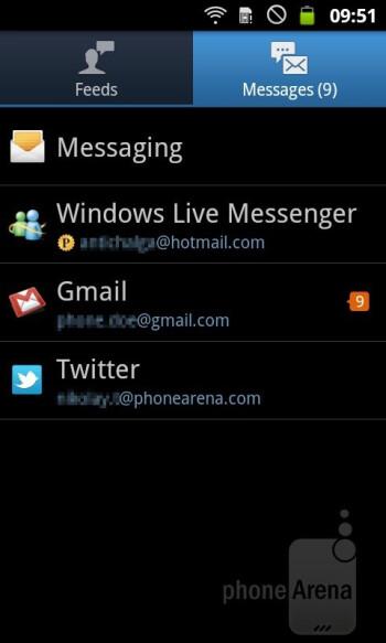 Social Hub - Samsung GALAXY W Preview