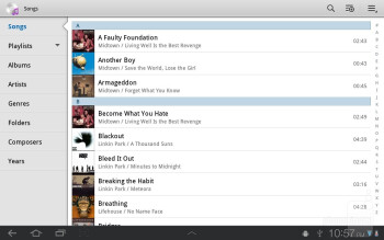 The TouchWiz music player - Samsung GALAXY Tab 8.9 Review