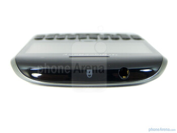 3.5mm headset jack and lock button on top - The sides of the RIM BlackBerry Curve 9360 - RIM BlackBerry Curve 9360 Review