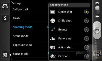 Camera interface - Samsung Galaxy S II T-Mobile Review