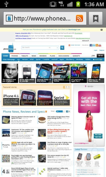 Web surfing with  Samsung Galaxy S II for T-Mobile - Apple iPhone 4S vs Motorola DROID BIONIC vs Samsung Galaxy S II T-Mobile